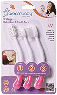 歯ブラシは、3段階のピンクを設定しました (Dreambaby) (x 4) - Dreambaby Toothbrush Set 3 Stage Pink (Pack of 4) [並行輸入品]