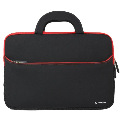 11.6-12.2 inch Laptop/Tablet Sleeve, Evecase Ultra Portable Neoprene Zipper Carrying Case Bag with Accessory Pocket and Handle for MacBook iPad Notebook Chromebook Ultrabook - Black/Red Trim