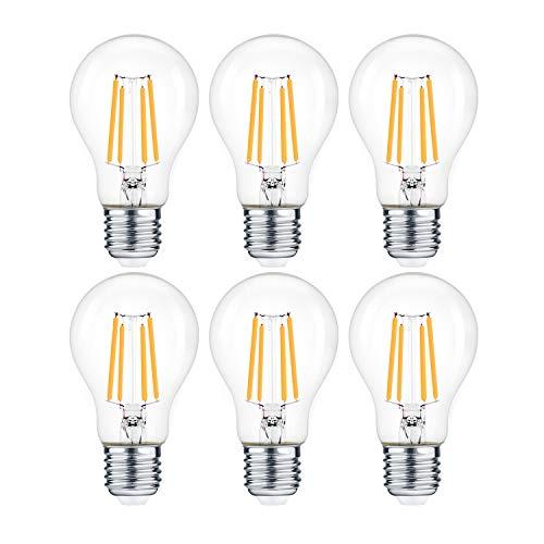 ExtraStar Edison Vintage Glühbirne,E27 1200Lm LED Lampen,10W ersetzt 100W Halogenlampen, 220-240V, 3000K Warmweiß, A60 Classic Glühfaden kerzenlampe, Nicht Dimmbar, 6 Stück