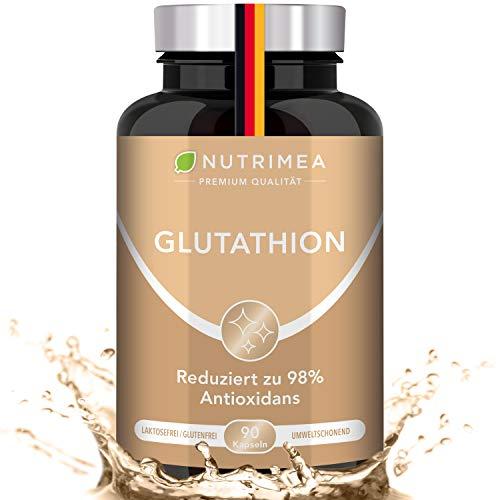 L-GLUTATHION reduziert zu 98% | Optimale Formel mit Vorläufern + Vitamin C | Tripeptid: Glutaminsäure, Cystein, Glycin | 90 Kapseln Vegan Hochdosiert für Immunsystem, Antioxidans, Anti-Aging