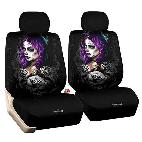 Front Car Seat Cover Cool Skull Driver Seat Protector 2pcs Winter Seat Cover with Headrest All Weather Universal Fit for Men/Women Vehicle Bucket Cover Truck Sedan Jeep Van