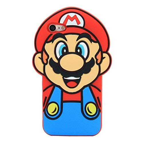 CASESOPHY Super Mario Case for Apple iPhone 7 8 SE Regular Size Soft Silicone 3D Cartoon Cool Fun Men Guys Boys Son Game Red Color Vintage Retro
