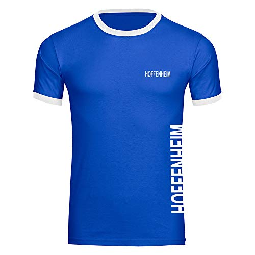 Multifanshop Herren T-Shirt Hoffenheim seitlich - Schriftzug auf der Brust und auf der Seite - blau/weiß - Größe S bis 5XL - Fußball Fanartikel Fanshop,Farbe:blau/weiß,Größe:L