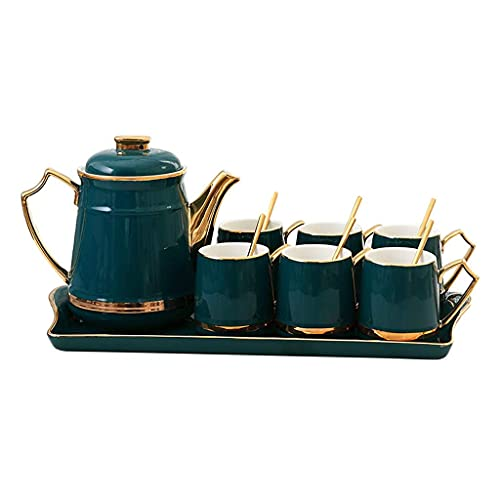 FGDSA Tea Set Creative Coffee Cup Dish Set Household Ceramic Tray Afternoon Tea Set Dark Green 8 Piece Set Tea Gift Sets