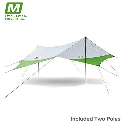 Topnaca Wasserdichter Camping Zeltplanen, Zelt Tarp für Hängematte, Ultraleicht Regen Fly Sonnensegel Regenschutz Sonnenschutz Shelter mit Pole für Outdoor Plane Wanderung Picknick Festival (4 x 3.5m