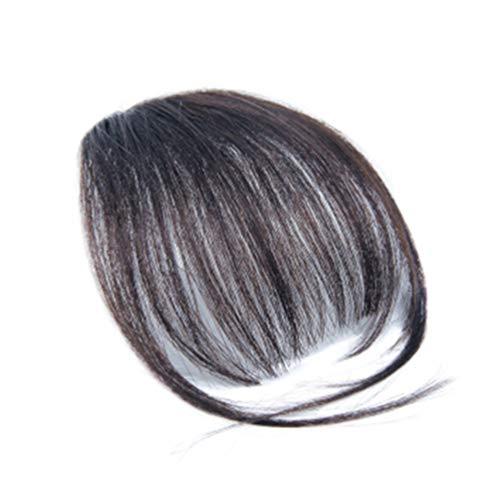 Minkissy Clip im Haar Pony Fransen Haarteile Echthaarverlängerungen für Mädchen Frauen (natürliche Farbe)