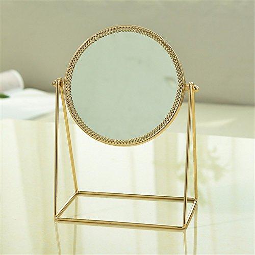 WanJiaMen'Shop Il Merletto d'oro Specchio Specchio Princess a Lato Singolo Specchio Tavolo HD Portatile Minimalista Beauty Mirror
