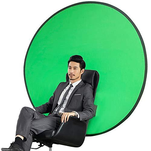 GOKEI グリーンバック zoom クロマキー 背景布 純綿100% ポップアップ 携帯 組み立て不要 ビデオ配信 部屋隠し Zoom会議 コンパクト収納 椅子取り付け 折り畳み式 テレビ会議 在宅勤務 リバーシブル テレワーク リモートワーク