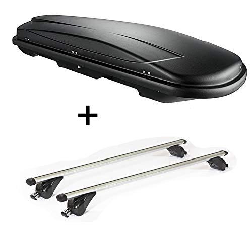 VDP Dachbox VDPJUXT600 600Ltr abschließbar + Dachträger/Relingträger KING1 kompatibel mit Kia Sportage (QL) (5 Türer) ab 16