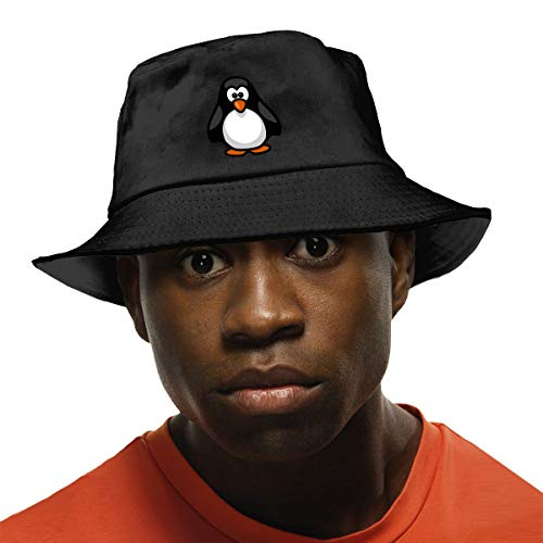 Arehji Lindo Pingüino Sombrero de Sol Protección UV Verano Gorra Unisex Plegable Pesca Sombrero Negro