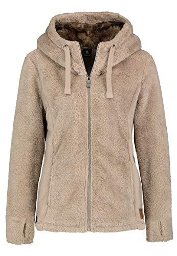 Sublevel Damen Fleece-Jacke mit Kunstfell & Teddy-Fleece Light-Brown XS