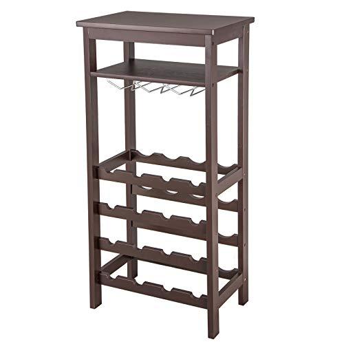 Smartxchoices 16 Bottle Wine Rack with Glass Hanger Shelf,Table Top Wine Storage Rack, Bamboo Free Standing Floor Wine Display Shelves Rack (Bamboo, Espresso)