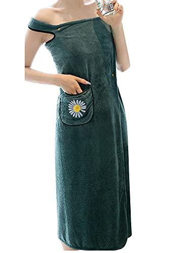 [ネルロッソ] 着る バスタオル レディース バスローブ ラップタオル ルームウェア ワンピース ガウン もこもこ ゆるふわ 正規品 約100cm×約115cm グリーン cka241976-L-gr