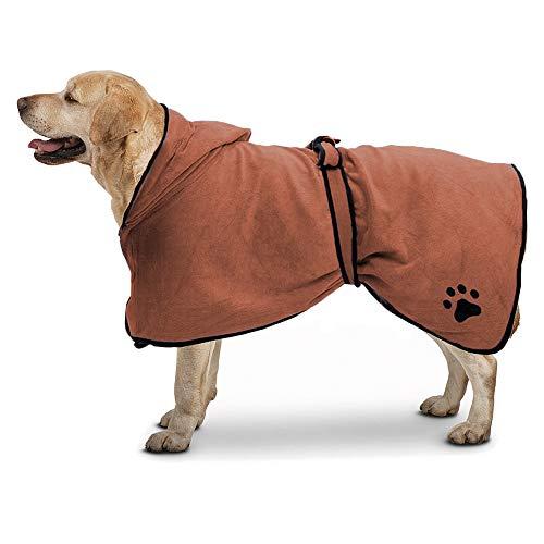 TFENG Microfibre Hundebademantel mit Kapuze Schnell Trocknend Quick Absorbent Pet Bademantel Cat Towel Coat Trocken Feuchtigkeit Pyjamas (Braun, Größe M)