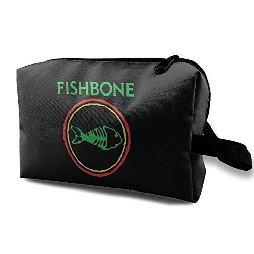 Hdadwy Fishbone Retro Punk Rock and Roll Band Practical Cosmetic Bag Travel Storage Makeup Bag