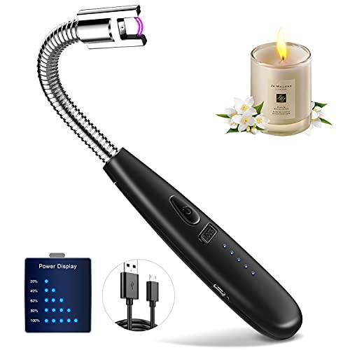 Mechero Electrico Encendedor USB Recargable y Pantalla LED de batería Cuello 360 ° Flexible Encendedor Electrico sin Humo Encendedor Cocina, Barbacoa,Vela aromática