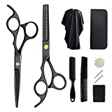 Professional Hair Cutting Scissors Set,10 Pcs Haircut Scissors Kit with Hair Cutting Scissors,Thinning Shears, Hair Razor Comb, Clips, Cape, Storage Case for Personal and Professional Barber