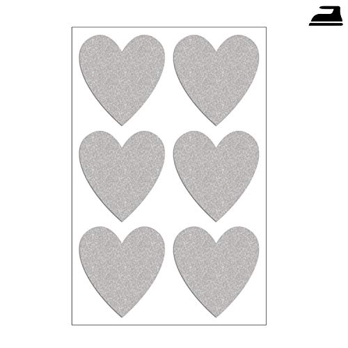Preisvergleich Produktbild Folius Reflektor Herzen zum Aufbügeln im Set mit 6 reflektierenden Herzen,  Bügelbilder Herzen,  Sicherheit durch Sichtbarkeit bei Dunkelheit und im Straßenverkehr