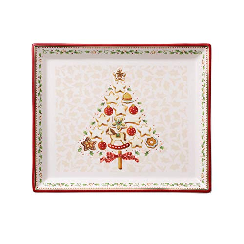 Villeroy & Boch Winter Bakery Delight Piatto Pasticceria, Rettangolare, Porcellana, Bianco/Rosso, (S)