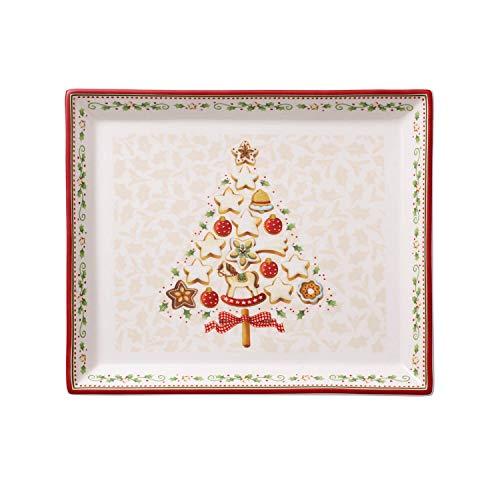Villeroy & Boch Winter Bakery Delight Gebäckplatte, Hartporzellan, Weiß/Rot/Beige, klein