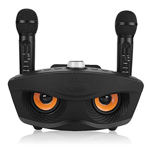 Mini Impianto Karaoke Portatile Per Home / Feste / Riunioni d'Ufficio (Bluetooth 4.2, Scheda TF, AUX, FM, Disco U, 2 Microfoni a Condensatore Palmare a Punto Singolo, Batteria Ricaricabile) - Nero