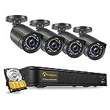 Anlapus 1080P Kit de Cámaras Seguridad PoE 8CH H.265+ Videograbador con 1TB Disco Duro 4 Cámaras de Vigilancia Exterior, 30M Visión Nocturna, App Gratis