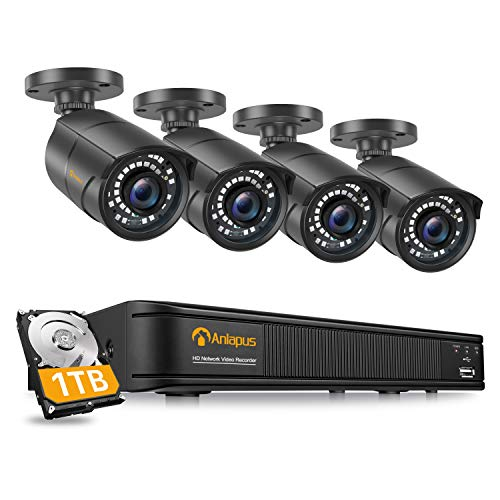 Anlapus 1080P POE Überwachungskamera Set mit 1TB Festplatte 8CH POE NVR Plus 4 Außen IP Kamera 30M IR Nachtsicht für Haus Überwachung