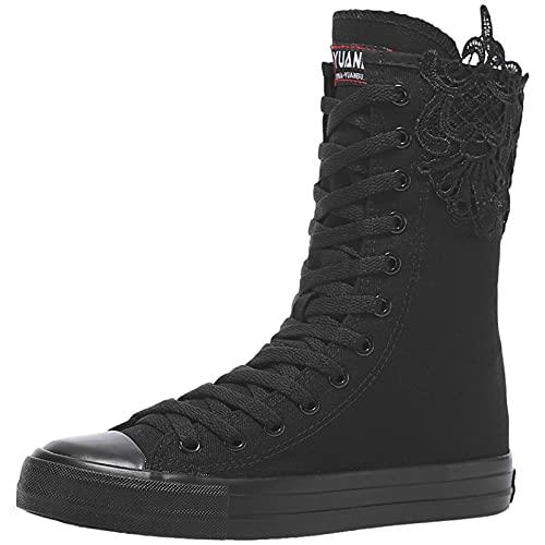 rismart Mujer Botas Lona Media Pierna Punk Altos Cordones Moda Sneakers(Negro (Encaje),38 EU)