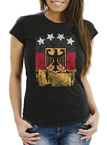 Cool Women's World Cup Shirt Germany Flag Vintage Football Stars - Black - X-Large