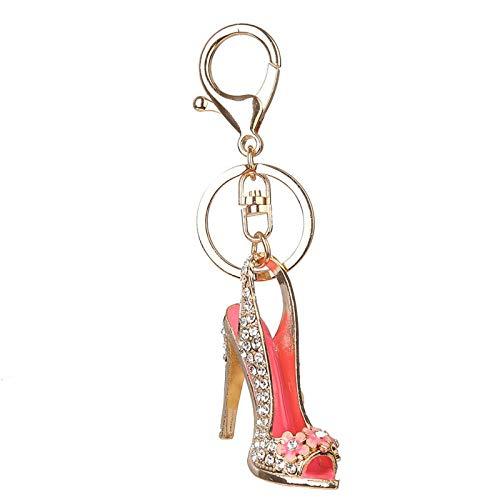 WWWL Llavero de tacón alto zapato llavero de diamantes de imitación de cristal del monedero del coche llavero de la aleación decorativa llavero