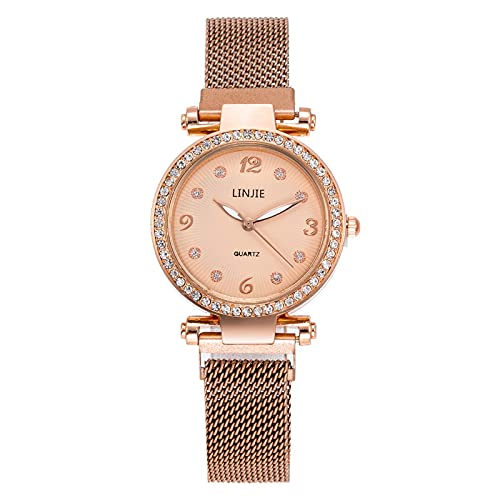 Reloj de pulsera para mujer, con diseño de diamantes de imitación y movimiento de cuarzo, para regalo de Rosegold