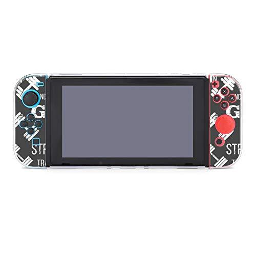 Funda protectora de PC antiarañazos para Nintendo Switch, compatible con interruptores y controladores Joy-Con Split 5 piezas Slim Game Console Case - Gimnasio etiqueta mancuerna