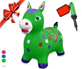 Bouncy Horse - ECO-Friendly - Animal Bouncing Horse Hopper Toy, Inflatable Ride on Jumping Bouncer for Kids (Green)