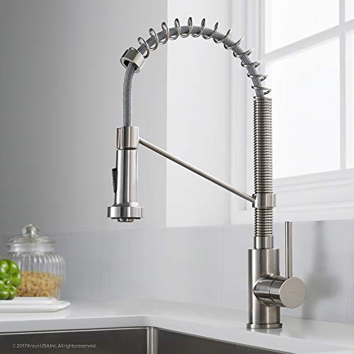 Kraus KPF-1610SS Bolden Single Handle 18-Inch Commercial Kitchen Faucet with Dual Function Pull Down Spray Head Finish Kpf-1610SS, Stainless Steel (Renewed)
