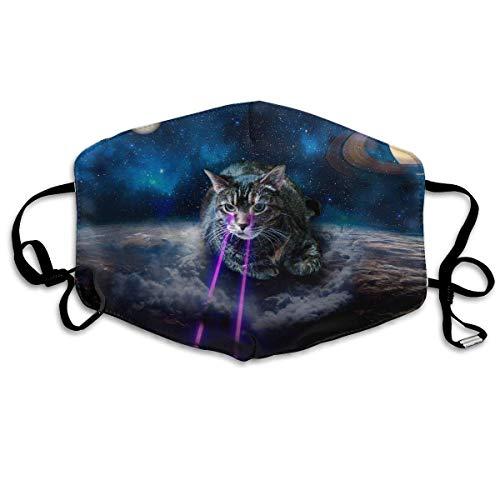Unisex Print Mond Masker - Cool Skull Artistieke Graphics Polyester Anti-Dust Mond-Muffle - Mode Gewassen Herbruikbare Gezichtsmaskers voor Outdoor Fietsen Eén maat Leuke ruimte laser kat