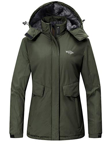 Wantdo Women's Ski Jackets Warm Winter Snow Coat Waterproof Rain Jacket Snow Sports Army Green L
