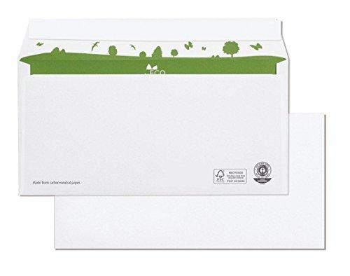 beeco 01720161Sobres DIN con reciclado verde interior de impresión, autoadhesivo, 500unidades, largo 110x 220mm, 80g, Blanco
