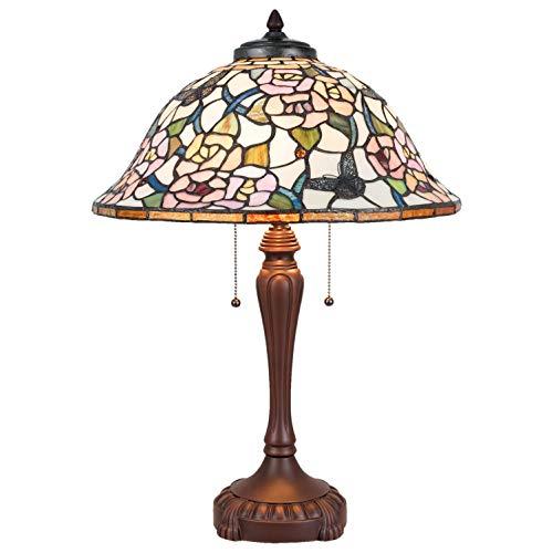 Lumilamp 5LL-5183 - Lampada da tavolo Tiffany, motivo floreale, multicolore, Ø 46 x 65 cm, E27, max. 3 x 60 Watt, realizzata a mano, paralume in vetro colorato, stile retrò anticato