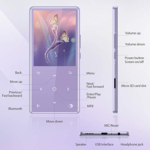 AGPTEK Bluetooth 5.0 Reproductor MP3, 16GB Reproductor de Música con Botón Táctilde 2.4 Pulgadas, Altavoz Incorporado, Radio FM, con Auriculares Soporte hasta 128 GB miniatura