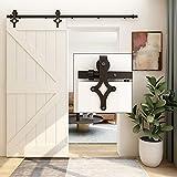 WOLFBIRD - Riel para puerta corredera, kit de accesorios para puertas correderas, kit de hardware para puerta corredera, sistema de puerta ajustable, puerta individual de madera, estilo diamante