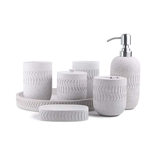 Soap bottles 7-Piece Natural Sandstone Bathroom Vanity Accessories Set Household Hotel Bathroom Soap Liquid and Lotion Dispenser Set,Stylish Triangle Texture,Decorations and Gifts lotion dispensers