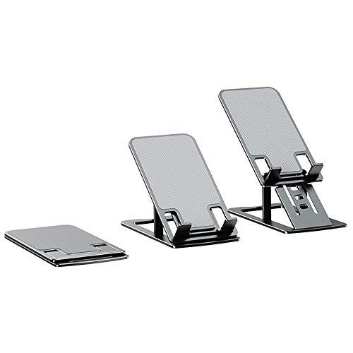 Soporte para teléfono, soporte ajustable de aluminio, soporte para iPad, soporte para tablet, compatible con iPhone, Kindle Nintendo Switch y más gadgets (gris)
