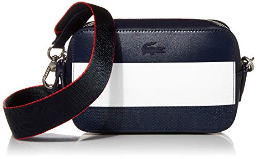 Lacoste Chantaco Colorblock Crossbody Bag, White/Coral RED