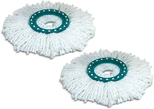 Leifheit Ersatzkopf Disc Mop, mit saugfähiger Microfaser für hohe Wasser- und Schmutzaufnahme, spielend leicht wechselbarer Ersatzmop, 2er-Set, Wischmopp für verschieden Bodenbeläge