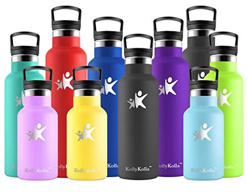 KollyKolla Botella de Agua Acero Inoxidable, Termo Sin BPA Ecológica Reutilizable, Botella Termica con Pajita y Filtro, Water Bottle para Niños & Adultos, Deporte, Oficina, Yoga, (600ml Moda Negro