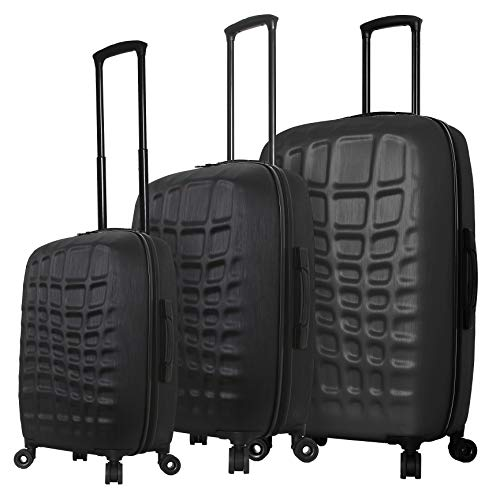Mia Toro Italy Abstract Croco Hard Side Spinner Luggage 3 Piece Set, Black, One Size