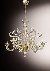 Lámpara de araña de cristal de Murano con 6 luces, vidrio con pan de oro de 24 kt, decoraciones de cristal blanco