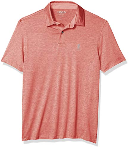 IZOD Men's Golf Title Holder Short Sleeve Polo, Saltwater Red, L