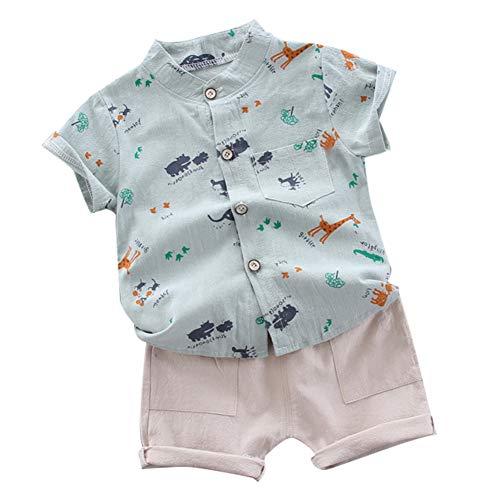 Gyratedream Baby Jongens Zomer Katoen Outfits Set (Korte mouw Cartoon Patroon Blouse+Shorts) voor 6 Maanden tot 4 Jaar oud