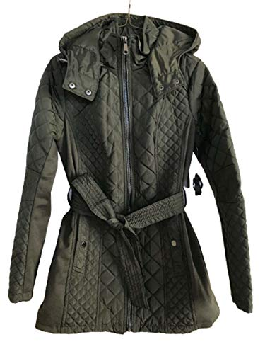 Sebby Collection Womens Quilted Trench Coat w/Removable Hooded Jacket in Olive, Size Large